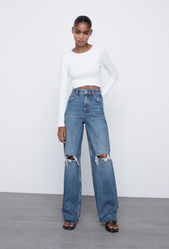 pavasario tendencijos - platūs džinsai